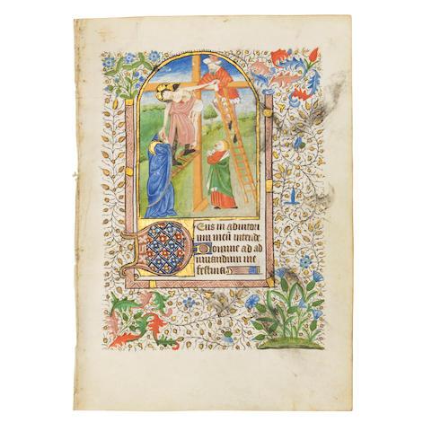 MINIATURE OF THE DEPOSITION. Illuminated manuscript on vellum, [probably Paris, c. 1420].
