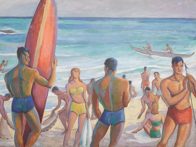 Robert Eskridge (1891-1975) Waikiki 47 3/4 x 71 1/4in framed 52 x 75in (Painted circa 1945.)