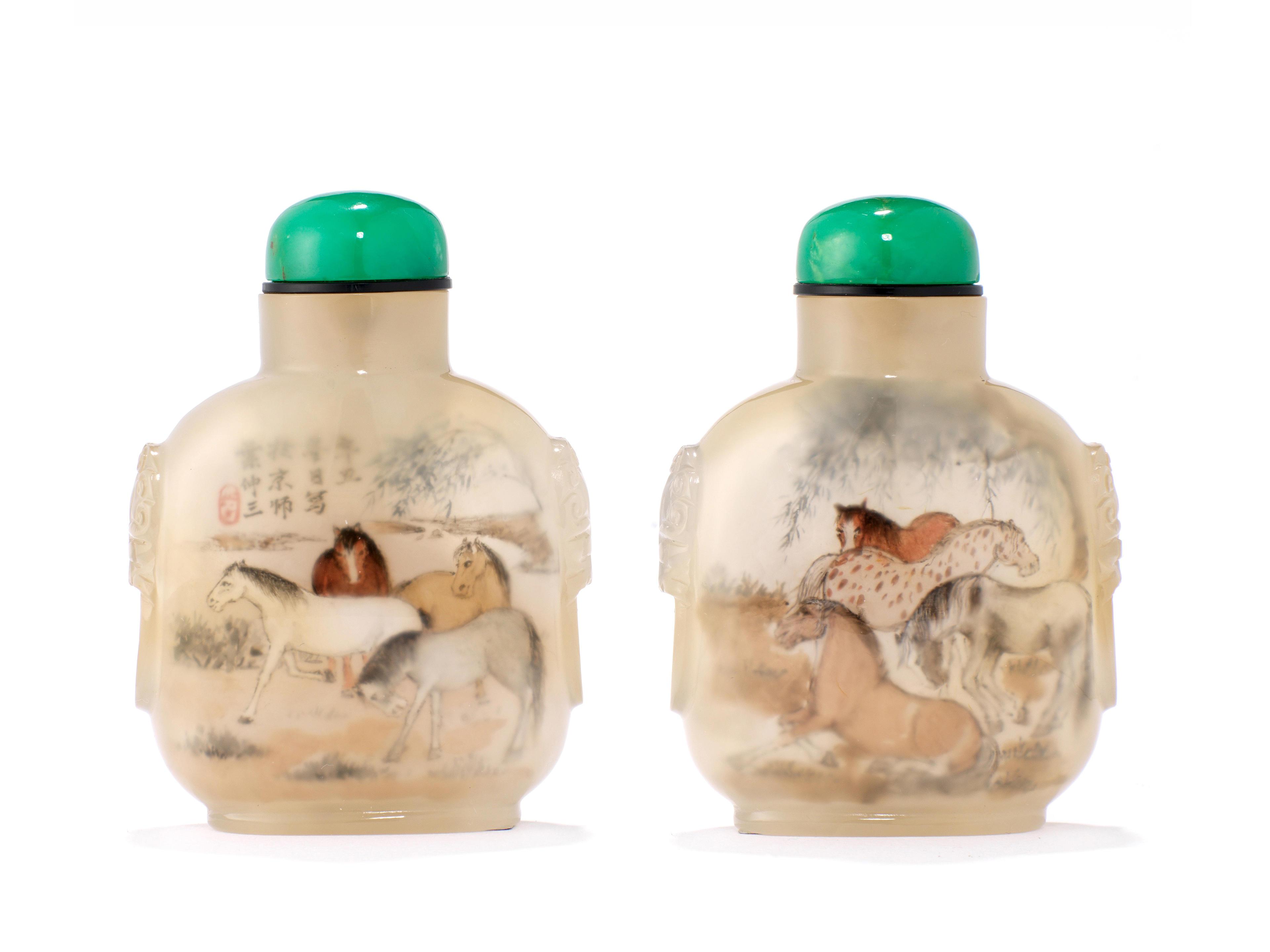 An inside-painted chalcedony snuff bottle Ye Zhongsan, 1901