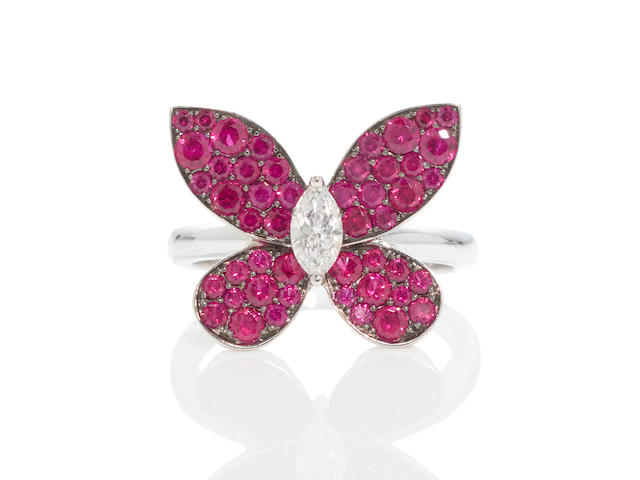 Graff: Ruby and Diamond Butterfly Ring