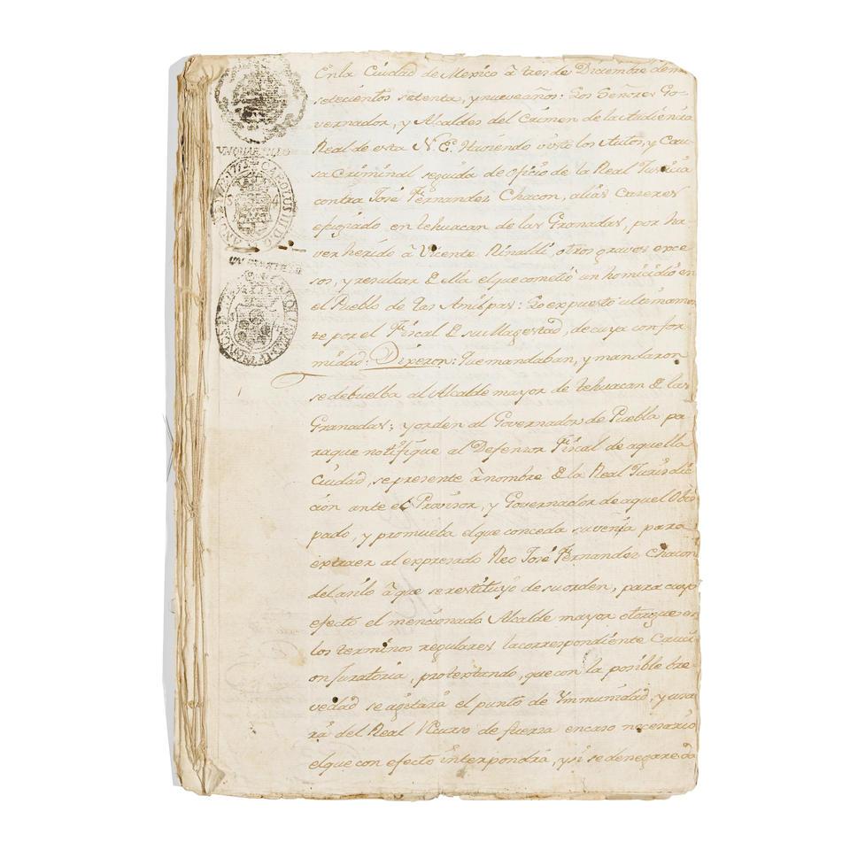 "GASPAR DE PORTOLA. 1716-1786. Document Signed Twice (""Gaspar de Portola,"" & ""M. Portola""), 29 pp, Puebla, Mexico, December 10, 1780,"