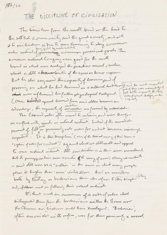 "HAYEK, FRIEDRICH AUGUST. 1899-1992. Autograph Manuscript, ""Discipline of Civilisation,"""
