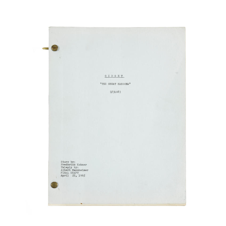 A pair of scripts and contact sheets from the Gidget TV show