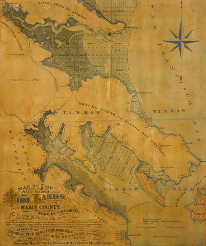 MARIN COUNTY, CALIFORNIA. Map No. 7 of the Salt Marsh and Tide Lands Situate in Marin County, State of California. To Be Sold at Public Auction Thursday May 18th, 1871. San Francisco: Schmidt Label & Litho Co., [1871].