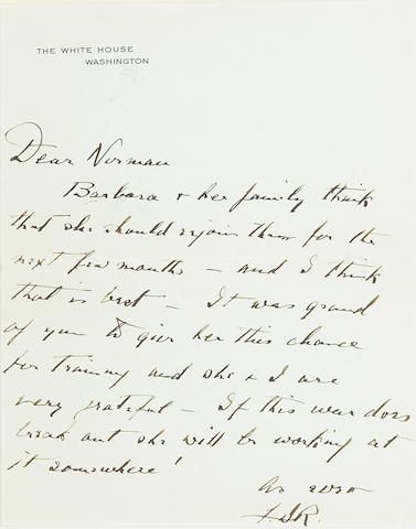 """ROOSEVELT, FRANKLIN DELANO. 1882-1944. Autograph Letter Signed (""""F.D.R."""") as President, Washington, [1941], to Norman Davis, on White House stationery,"""