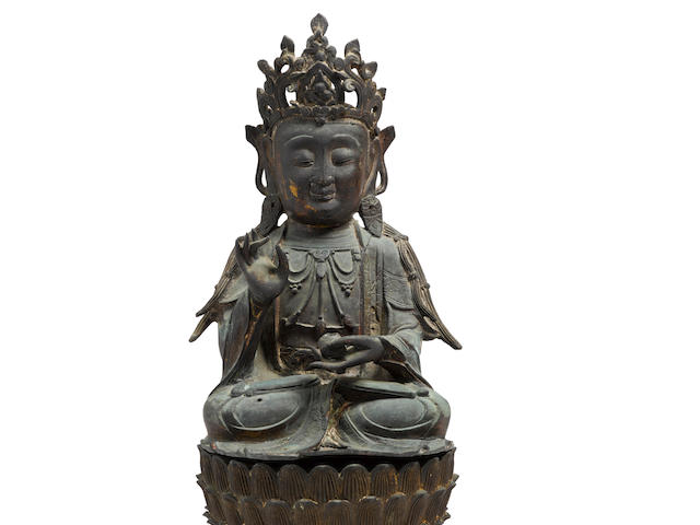 A BRONZE FIGURE OF A BODHISATTVA AND A LOTUS THRONE Ming dynasty