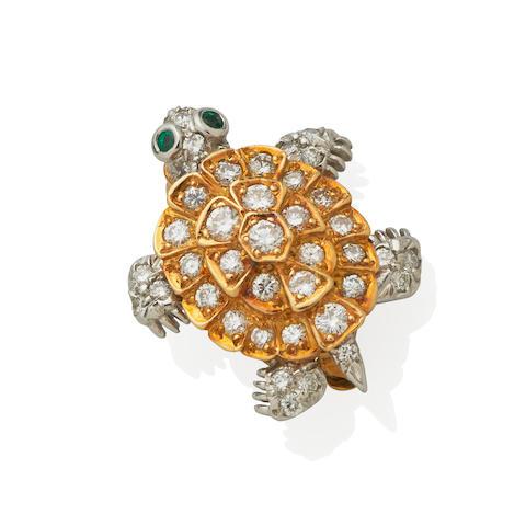 Tiffany & Co.: Diamond and Emerald Turtle Pin