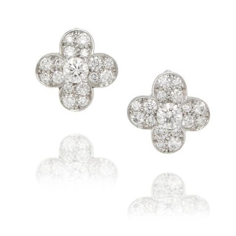 Van Cleef & Arpels: Pair of Diamond 'Tréfle' Earclips