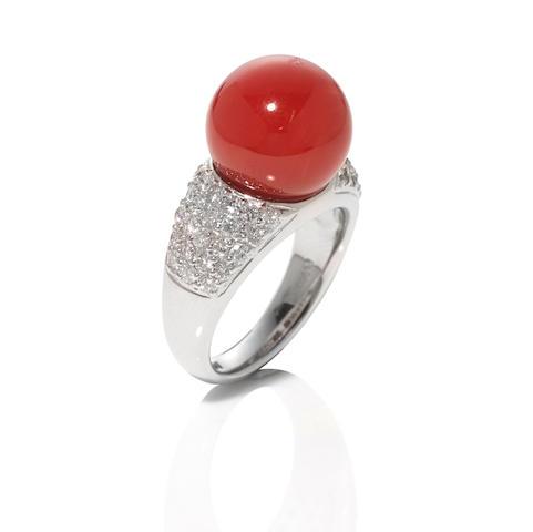 Platinum, Coral and Diamond Ring