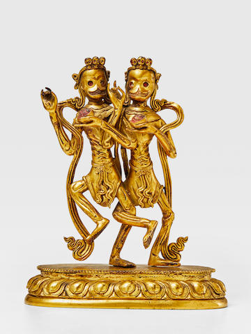 A GILT COPPER ALLOY FIGURE OF CHITIPATI QING DYNASTY, 18TH CENTURY