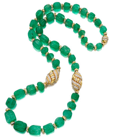 An Emerald Bead, Diamond and 18k Gold Necklace