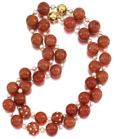 A PAIR OF CARNELIAN AND CULTURED PEARL NECKLACES