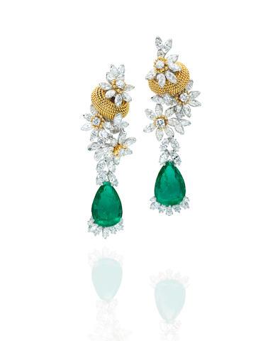 A Pair of diamond and emerald ear pendants, Marchak, Paris,