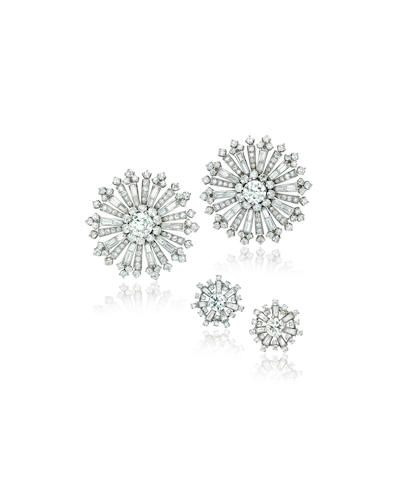An attractive pair of diamond brooches, John Rubel; and a pair of ear clips,