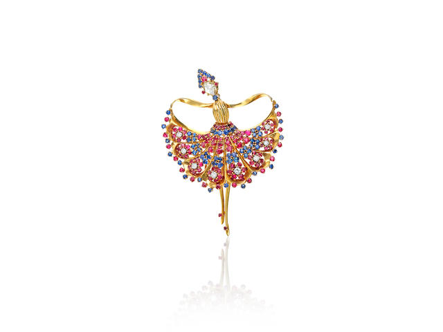 A very fine 18k gold and gem-set ballarina brooch,  John Rubel Co.,