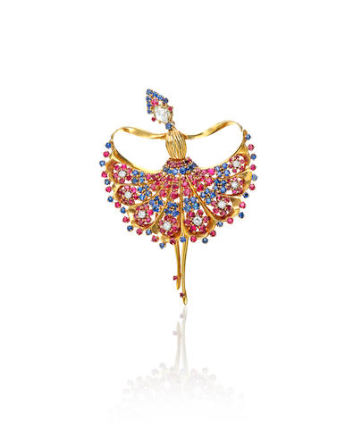 A very fine 18k gold and gem-set ballarina brooch,  John Rubel Co.,