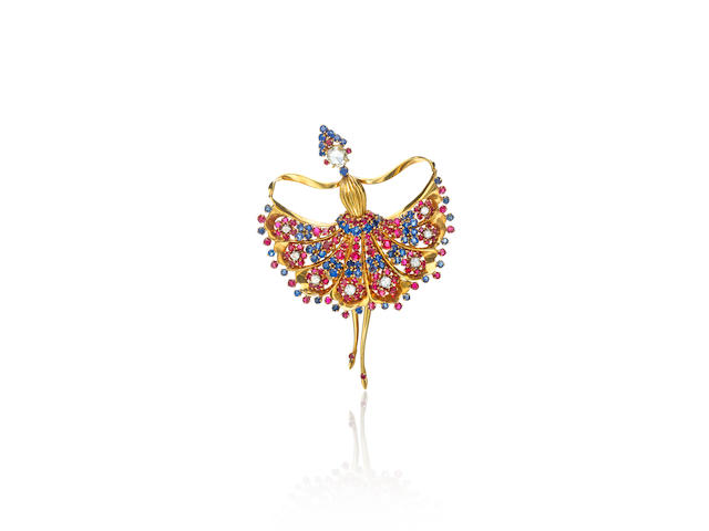 A very fine 18k gold and gem-set Ballaerina brooch,  John Rubel Co.,