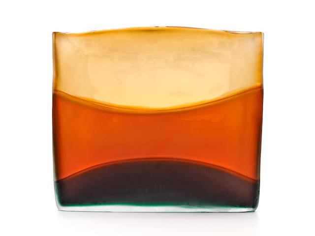Laura Diaz de Santillana (1955-2019) Flag 362005blown glass, engraved 'Laura de Santillana 2005'height 14 1/2in (37cm); width 17in (43cm); depth 2in (5cm)