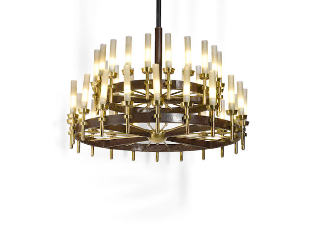 Jacques Adnet (1901-1984) Bespoke Chandelier1954for Compagnie des Arts Français, leather, brass, glassheight 39 1/2in (100cm); diameter 64 1/4in (156cm)