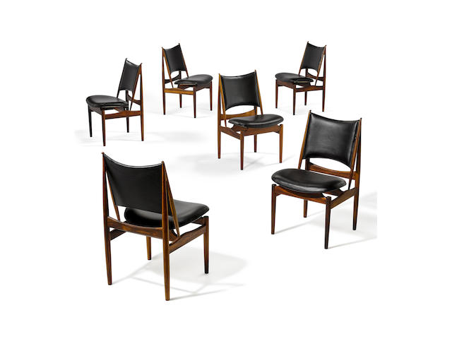 Finn Juhl (1912-1989) Set of Six Egyptian Chairsdesigned 1949, these examples acquired 1962for Niels Vodder, Brazilian rosewood, vinyl upholstery, each branded 'NIELS VODDER CABINETMAKER/COPENHAGEN DENMARK/DESIGN: FINN JUHL'height 35 1/4in (89.5cm); width 21 1/2in (54.5cm); depth 23 1/4in (59cm)