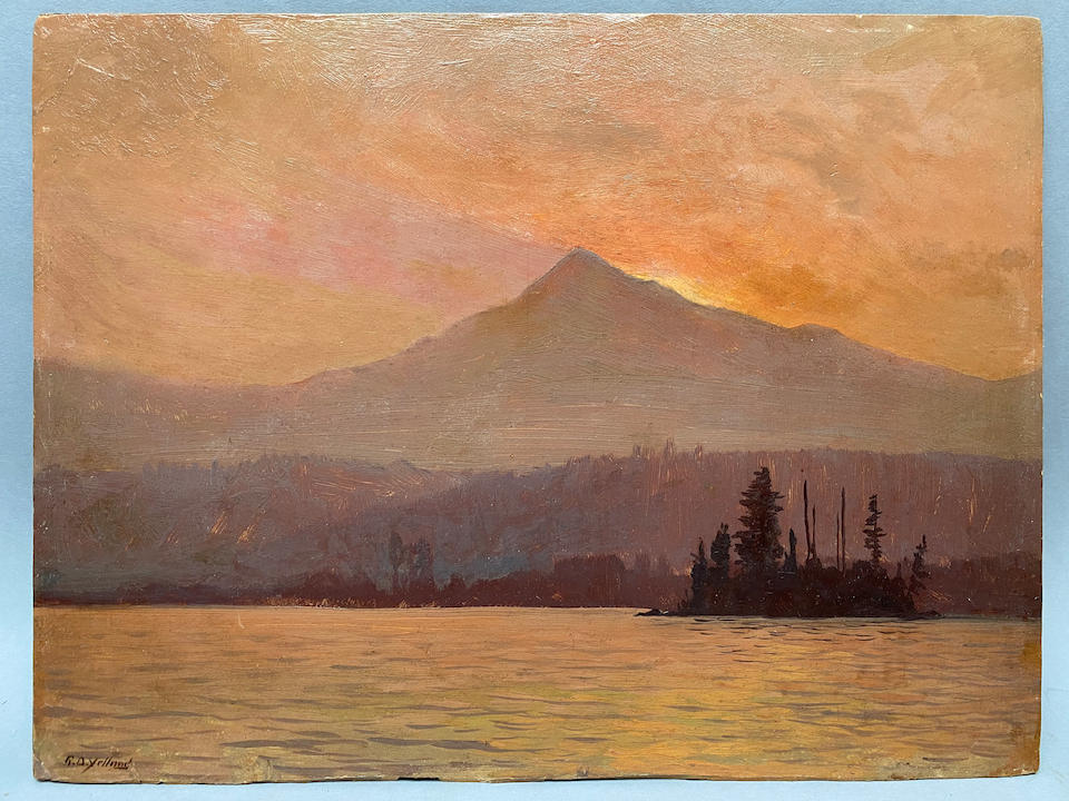 Raymond Dabb Yelland (1848-1900) Columbia River at Sunset 10 1/4 x 13 1/2in (framed 15 x 18in)