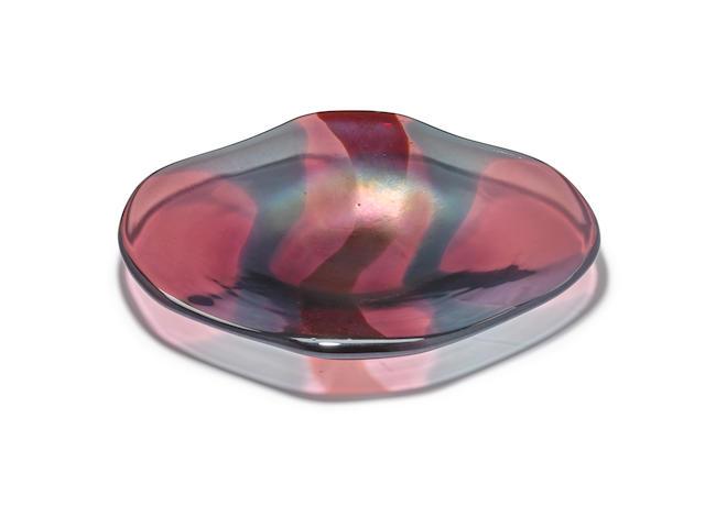 Carlo Scarpa (1906-1978) Rare A Macchie Dish1942model no. 4476, for Venini, hand-blown iridescent and polychrome glass, acid etched stencil 'venini murano ITALIA'height 1 1/4in (3cm); width 10 1/2in (26.5cm); depth 8 3/4in (22cm)