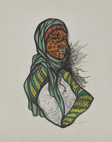 Toyin  Ojih Odutola (Nigerian, born 1985) The Original (Binary State)