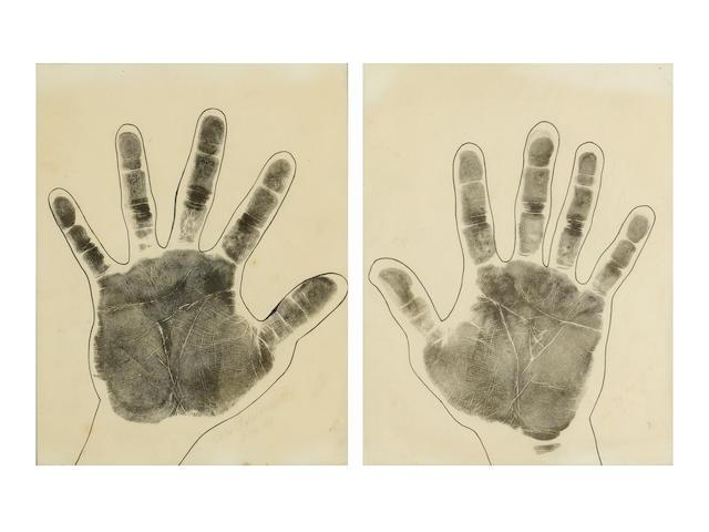 """A PAIR OF DUKE KAHANAMOKU'S HANDPRINTS KAHANAMOKU, DUKE PAOA. 1890-1968. Hand prints signed below (""""Duke P. Kahanamoku""""), ink on 2 sheets of paper, each 11 by 8 ½ inches, dated February 16, 1943,"""