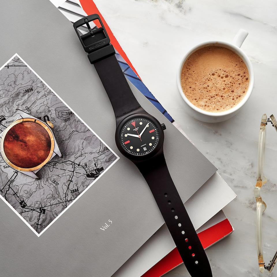 HODINKEE, a Lot of all five Swatch for HODINKEE Edition Sistem51 watches ever created, including Watches: A Guide by HODINKEE