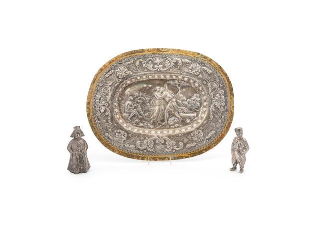 A German standard silver repousse platter 18th/19th century
