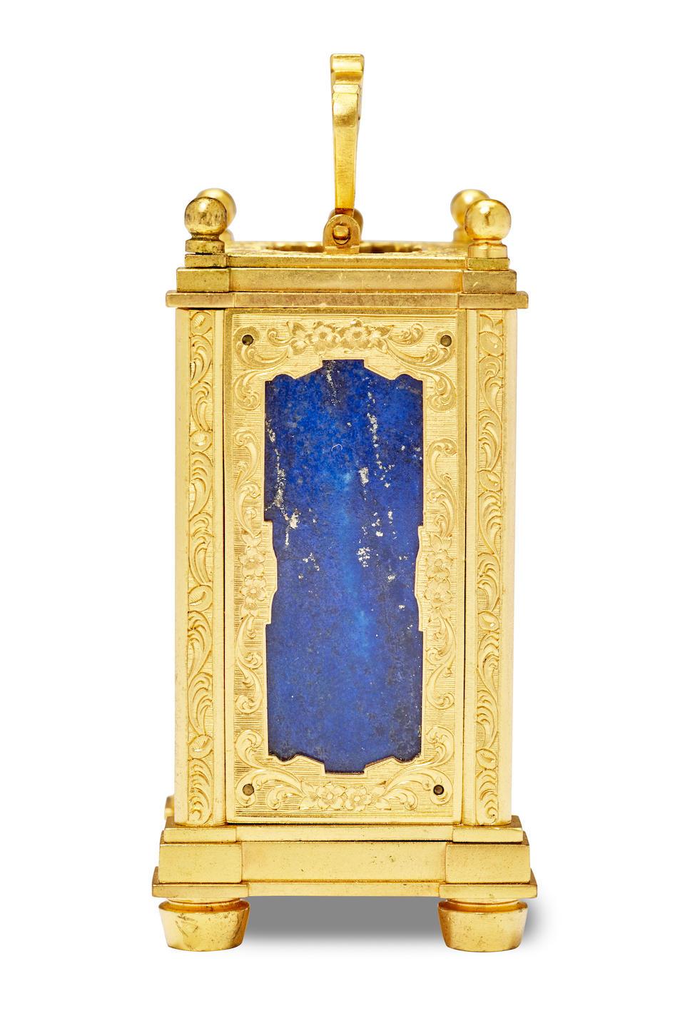 A fine miniature carriage timepiece with lapis lazuli side panels Thomas Cole, London, retailed by R. & S. Garrard, Panton Street, Haymarket Circa 1845