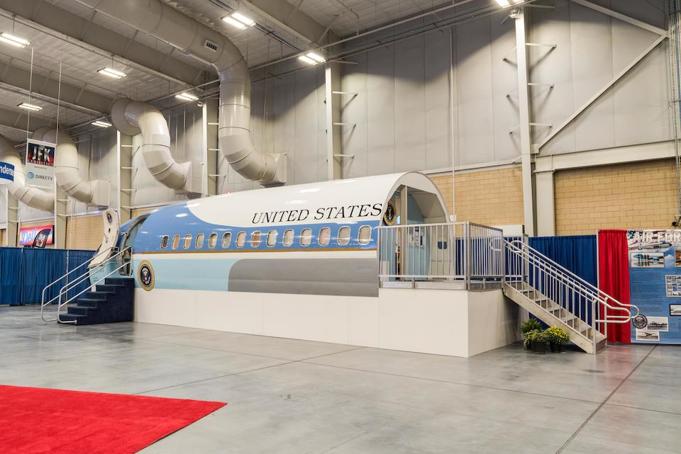 KENNEDY USHERS IN THE JET AGE ABOARD AIR FORCE ONE. A full size Boeing 707 fuselage retrofitted as a replica of SAM 26000 John F. Kennedy's Air Force One, after the design by Raymond Loewy,