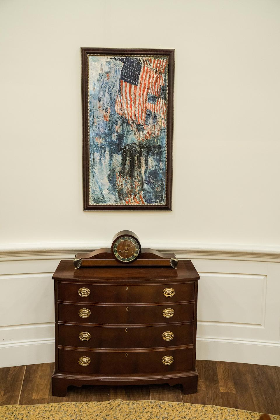 THE OVAL OFFICE. A full-scale facsimile of the Oval Office, measuring 27 x 31 feet, and 13 1/2 feet high,