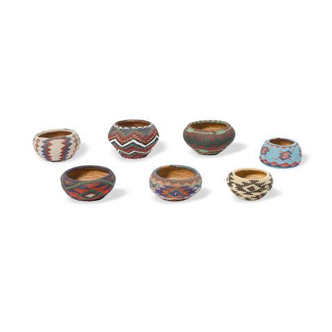 Seven Mono Lake Paiute beaded baskets
