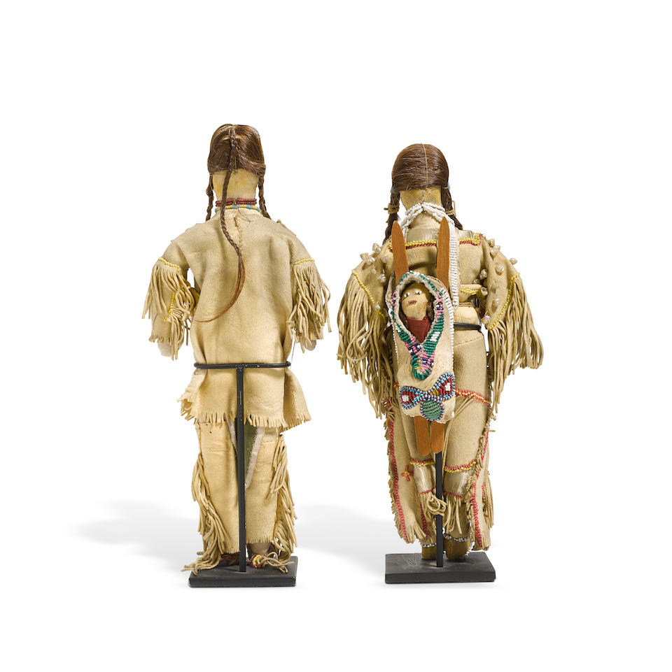 A pair of Kiowa beaded dolls