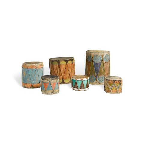 Six Pueblo drums