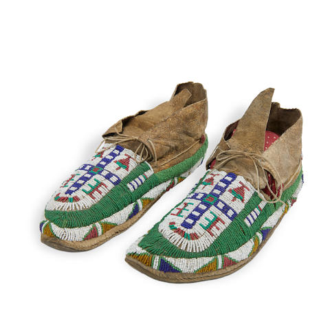 A pair of Sioux beaded moccasins