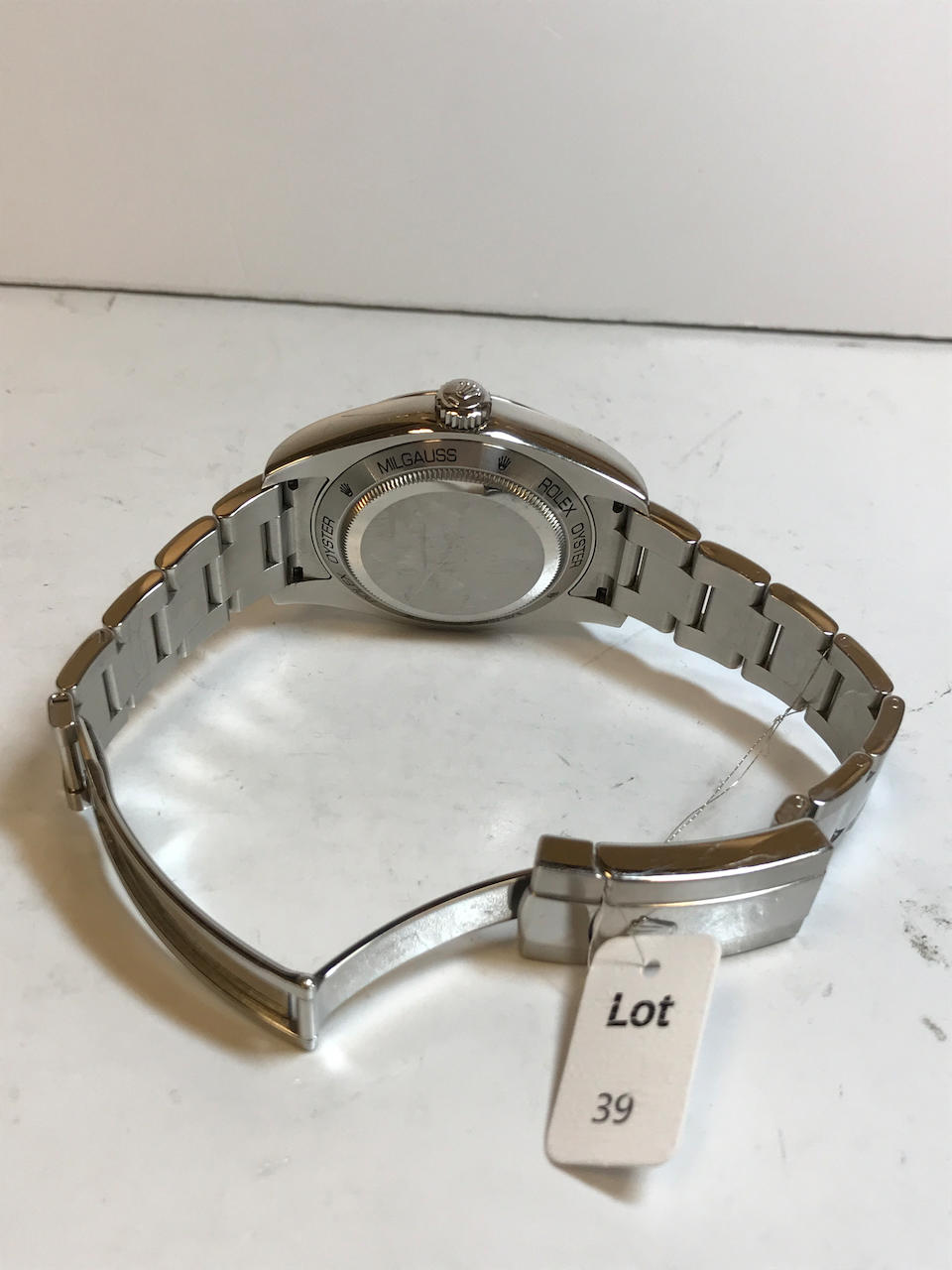 Rolex. A stainless steel automatic anti-magnetic bracelet watch Milgauss, Ref: 116400GV,