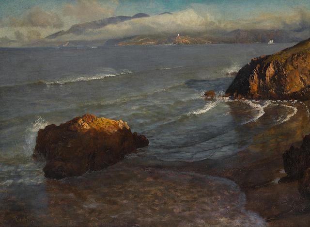 Albert Bierstadt (1830-1902) Entrance to Golden Gate 16 x 22in (40.6 x 55.9cm) (Painted circa 1872.)