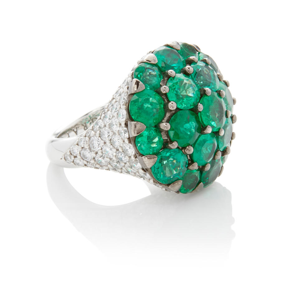 Graff: White Gold, Emerald and Diamond Bombe Ring