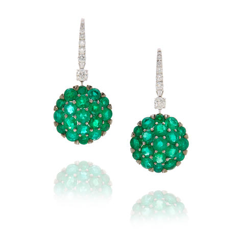 Graff: Pair of Emerald and Diamond Pendant Earrings