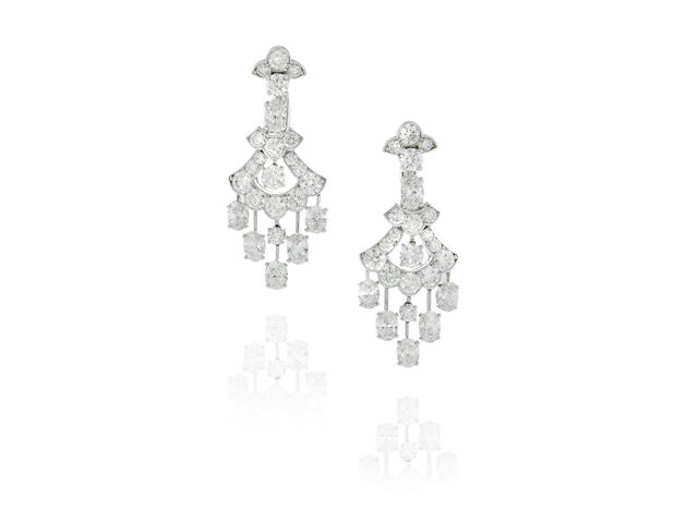 Graff: Pair of White Gold and Diamond Chandelier Earrings