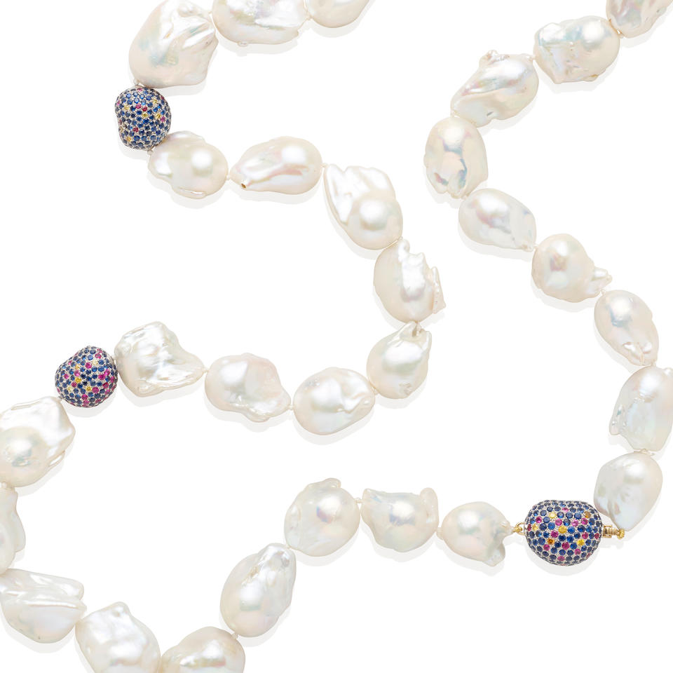 Baroque Cultured Pearl and Sapphire Necklace