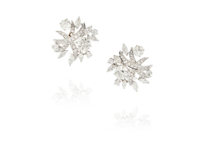 Pair of Platinum and Diamond Ear Clips