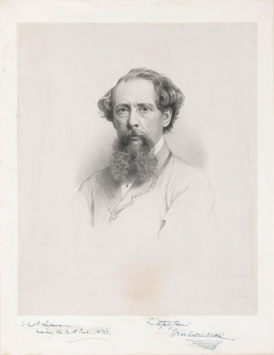 A LARGE FORMAT LITHOGRAPHIC PORTRAIT OF CHARLES DICKENS INSCRIBED TO HIS PUBLISHER. WATKINS, JOHN AND CHARLES, after. Portrait of Charles Dickens. Engraved portrait after the Watkins photograph, 345 x 285 mm (image), INSCRIBED to Dickens's publisher Frederic Chapman of Chapman & Hall, June 10, 1862,