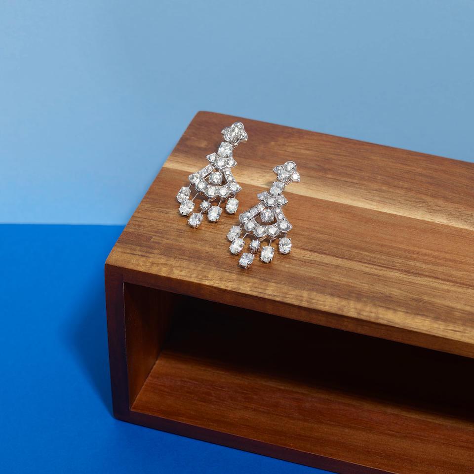 Graff: Pair of White Gold and Diamond Chandelier Earrings