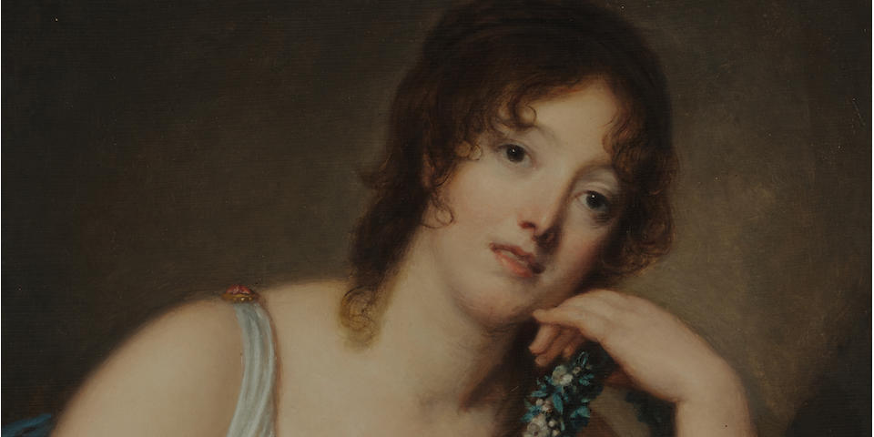 Jean-Baptiste Greuze (French, 1725-1805) Portrait of Jeanne Philiberte Ledoux (1767–1840), half-length 23 5/8 x 19 3/8 in (60 x 49.3 cm.) (Painted circa 1790)