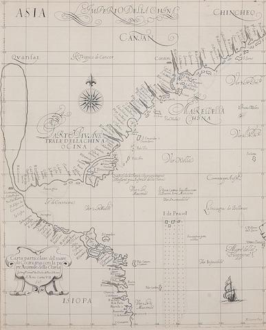 DUDLEY, ROBERT, SIR. c.1573-1649. [China] Carta particolare del mare di Cocincina con la parte Australe della China. [Florence: 1661.]