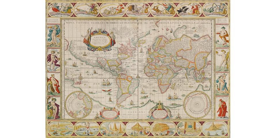 BLAEU, WILLEM. 1571-1638. Nova totius terrarum orbis geographica ac hydrographica tabula. Amsterdam: [c.1635].