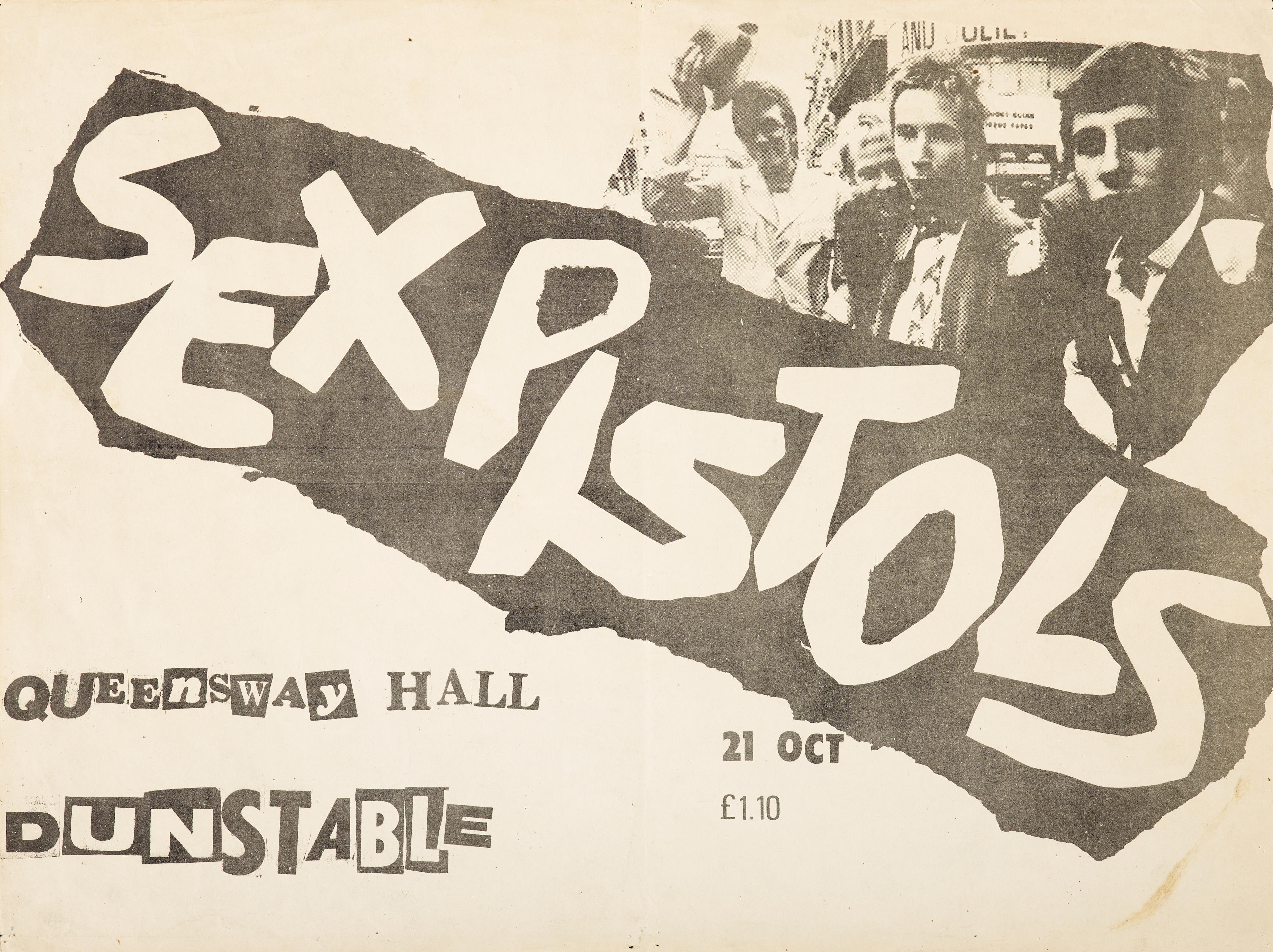 A small rare concert poster for the Sex Pistols at Queensway Hall, Dunstable, UK 21 October 1976